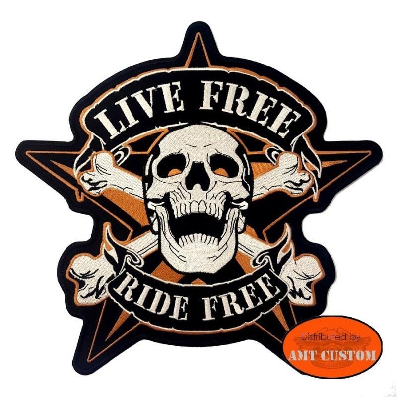 """Patch écusson Biker Skull Etoile """"Ride Free"""""""