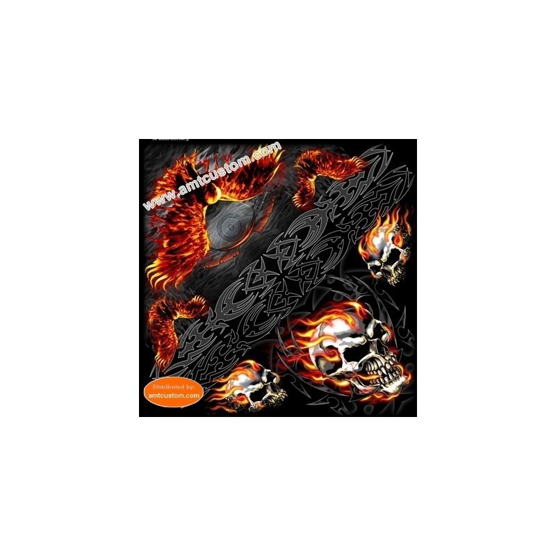 Flaming Skull & eagle biker Bandana scarf moto custom harley trike chopper