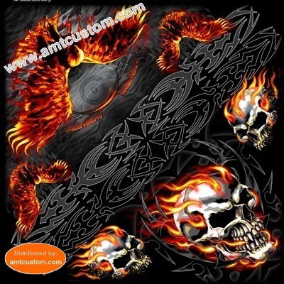Flaming Skull & eagle biker Bandana scarf