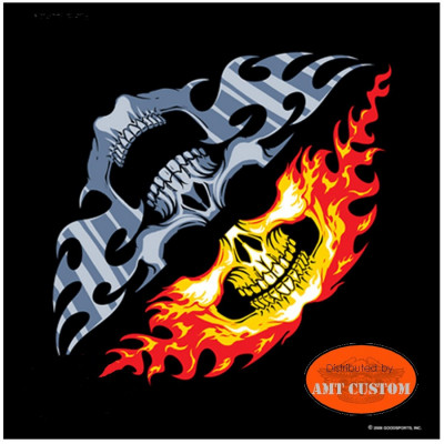 Bandana Biker Flammes Skull Bicolore