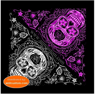 Bandana scarf sugar skull lady rider