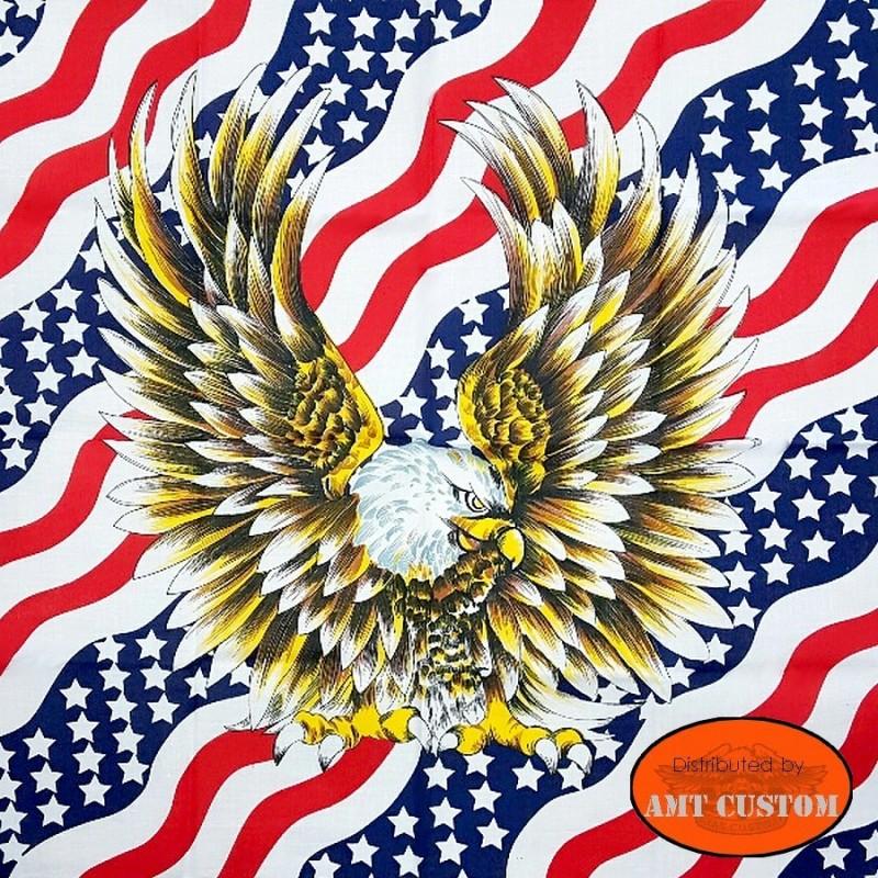 US aggressive Eagle flag bandana scarf biker motorcycle custom harley trike chopper