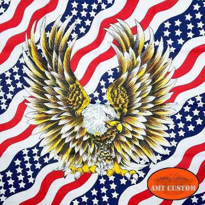 Bandana drapeau US aigle agréssif cache nez tour de cou design moto custom harley