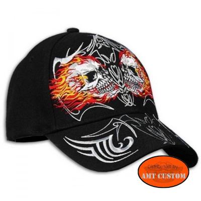 Casquette biker Skull Flaming