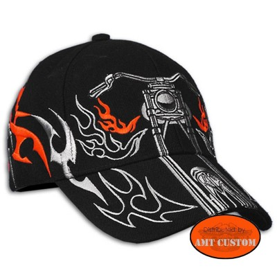 Motorcycle flaming ball Cap biker motorcycle custom harley trike chopper