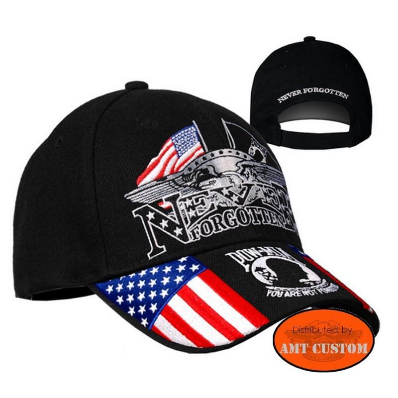"Custom Motorcycle Biker Hat ""Pow Mia"" never forgotten biker motorcycle custom harley trike chopper"