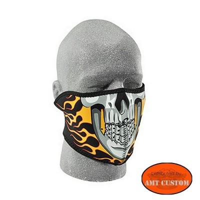 Masque néoprène moto Tête de Mort Skull Flaming cache nez couvre tête spécial moto ski