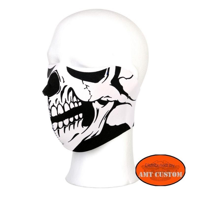 Masque néoprène skull noir et blanc cache nez protection moto biker biker chopper bobber trike moto accessoires
