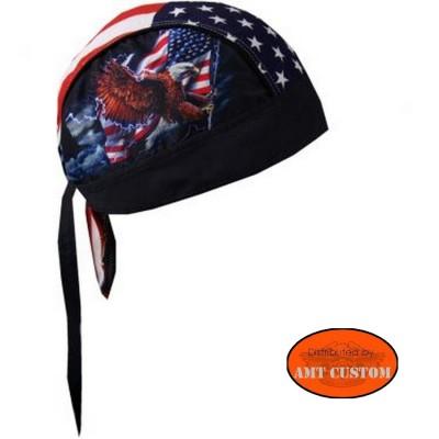 Eagle flag US biker Bandana Zandan motorcycle cap custom harley