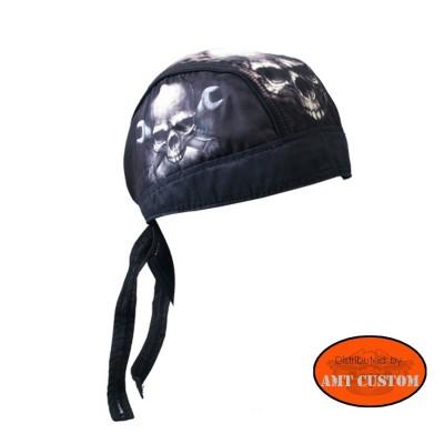 Zandana Tête de Mort Skull et clés anglaises couvre tête moto custom accessoire biker custom