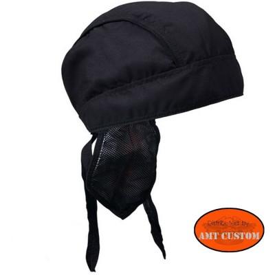 Zandana biker noir uni couvre tête moto custom accessoire biker custom