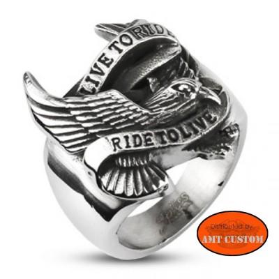 Bague Live to ride aigle biker anneau biker custom harley trike chopper bobber accessoire biker