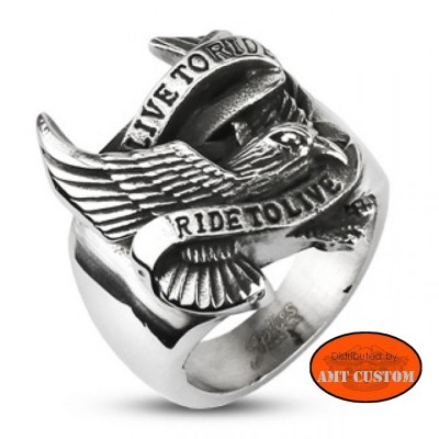 Live to ride eagle ring stainless steel motorcycles custom
