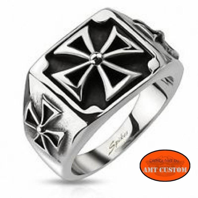 Maltese cross biker ring stainless steel motorcycles custom