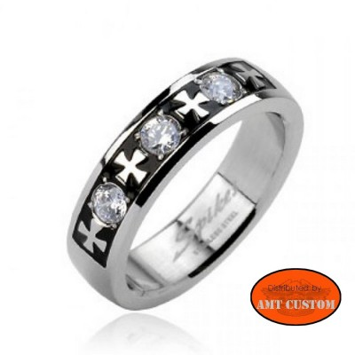 Iron Cross rhinestone Ring motorcycles custom