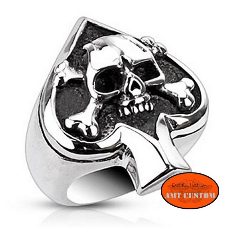 Ring skull Ace of spades biker ring