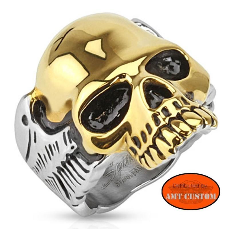 Bague Skull Gold and chrome biker anneau biker custom harley trike chopper bobber accessoire biker