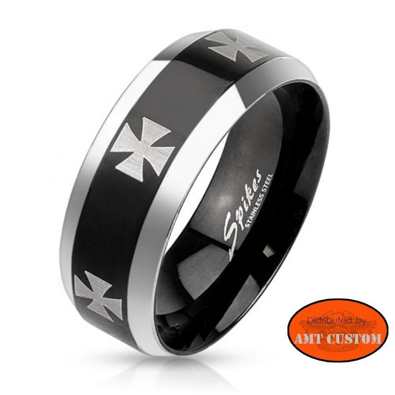 Black and silver maltese cross biker steel ring motorcycles custom