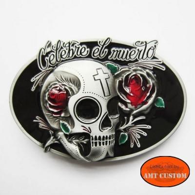 Biker skull muerta belt buckle