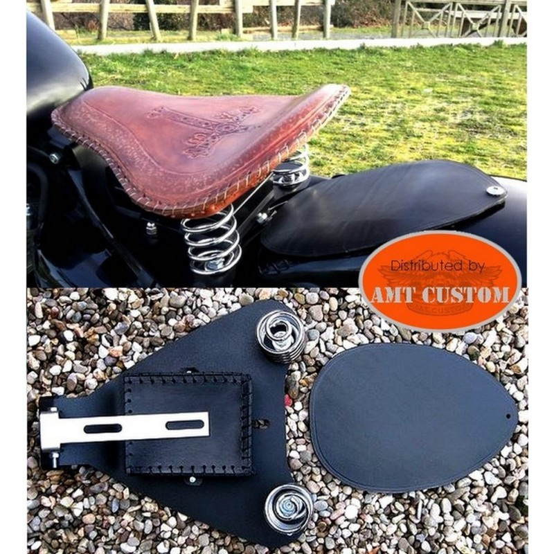 Coil cover Kit leather solo seat - Old School Bobber Sportster Harley XL883 and 1200 - 2007 to 2009