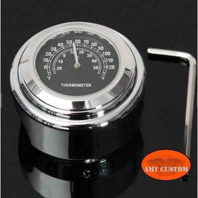 Thermomètre Guidon noir diamètre 22mm