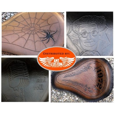 Custom leather solo seat for custom Harley Davidson Choppers, Bobbers, ...