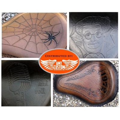 Selle solo cuir personnalisée pour custom, Harley Davidson, Choppers, Bobbers, ...