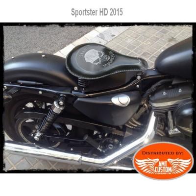 Selle solo cuir noire Skull tête de mort Bobber Sportster Harley Davidson XL883 XL1200