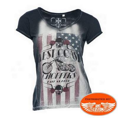 Tee-shirt American flag Skull Lady West Coast