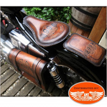 "Brown leather solo seat and swingarm bag "" Road 66"" custom / Choppers & Bobbers"