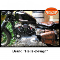 "Bobber leather solo seat passenger bag "" Road 66"" custom / Choppers Harley davidson, Honda, Yamaha, ..."