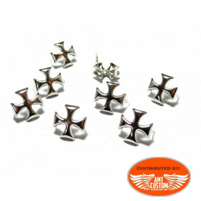 20 Maltese cross studs for bag, jacket, vest custom