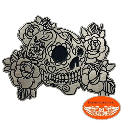 pin's badge skull muerta flowers custom