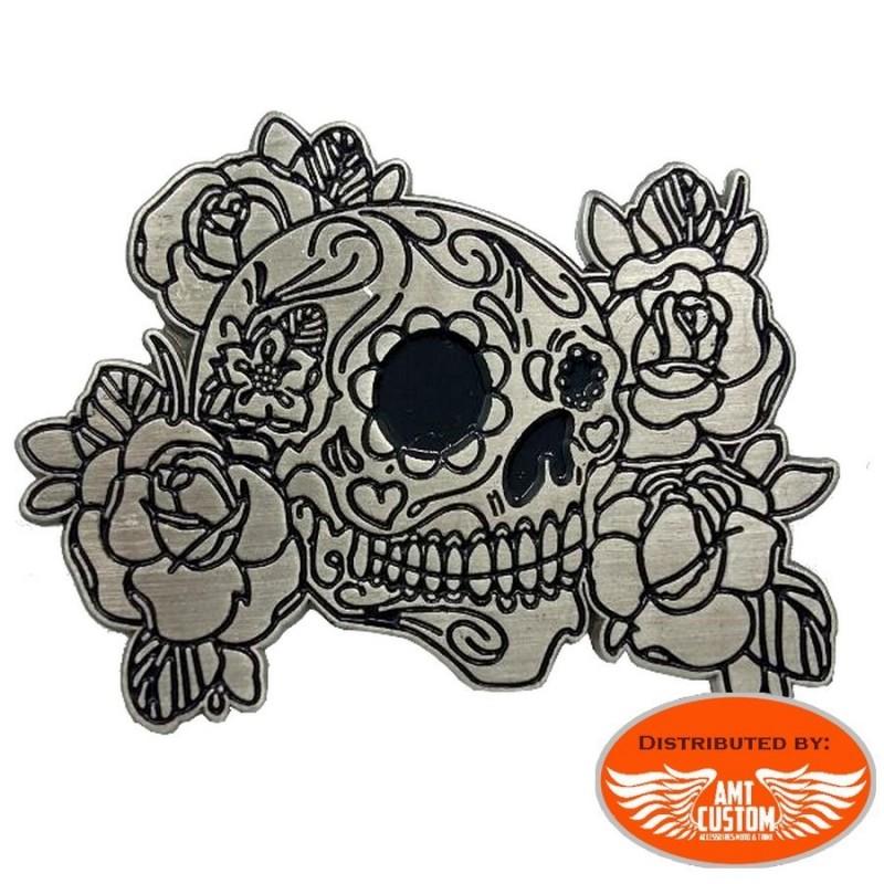 pin's badge skull muerta flowers custom