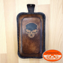 brown Passenger seat SKULL for solo seat motorcycle Universal Bobber Custom Choppers
