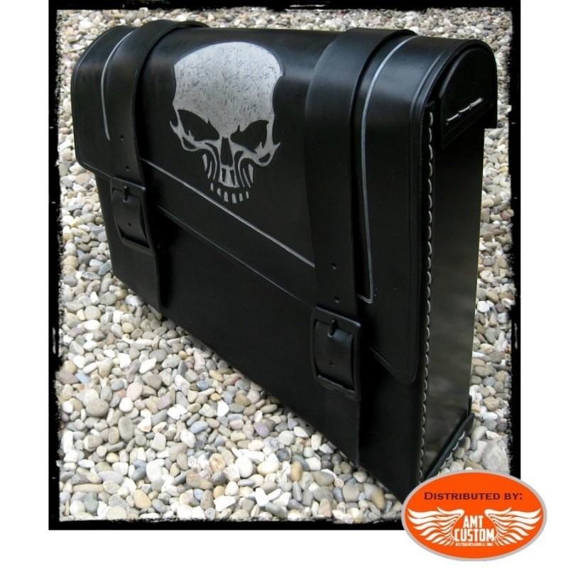 Black Skull HD Side frame leather bag Harley Bobber - Choppers