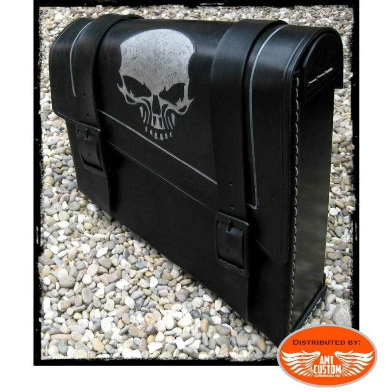 Sacoche latérale Solo cuir Skull Harley, Bobbers, Choppers