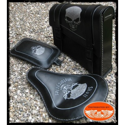 Kit Sacoche latérale selle Solo et pouf cuir Skull Harley, Bobbers, Choppers