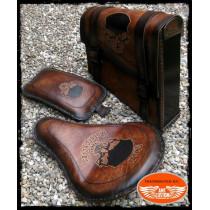 Set Swingarm solo and passenger seat Brown Skull HD Side frame leather bag Harley Bobber - Choppers
