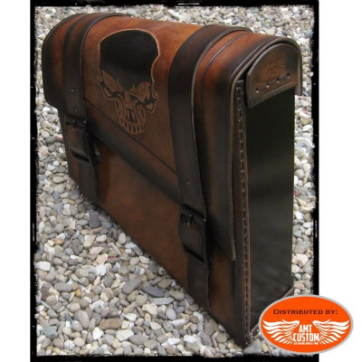 Brown Skull Side frame leather bag swingarm for Harley Bobber - Choppers