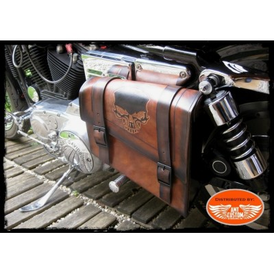 Brown leather swingarm Skull HD Side frame leather bag Harley Bobber - Choppers
