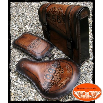 ensemble solo bobber cuir route 66 pour moto custom Harley Choppers
