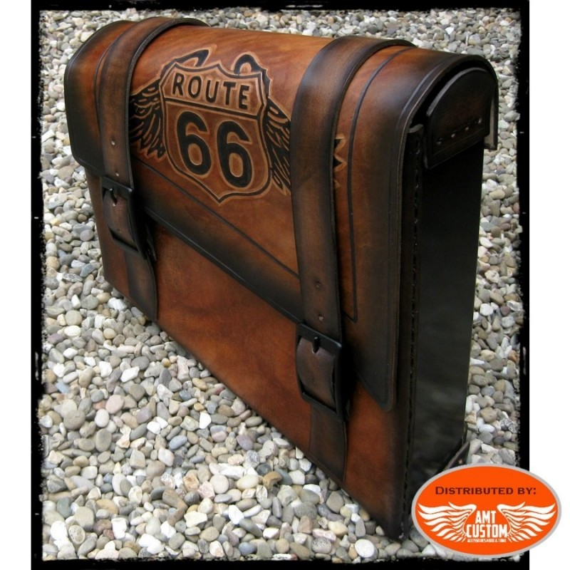 """Sacoche latérale solo cuir marron """"Route 66"""" Harley, Bobbers, Choppers"""
