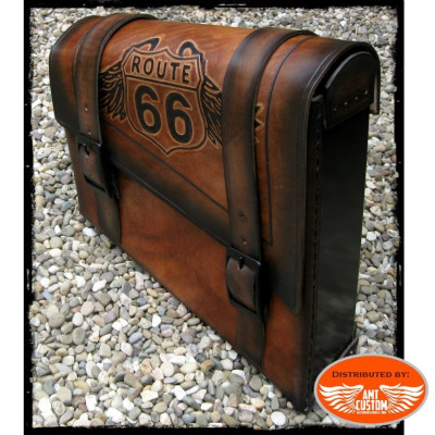 "Brown leather swingarm bag ""Road 66"" for Harley Bobber - Choppers"