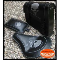 Ensemble Bobber Skull tête de mort cuir noir pour moto selle solo bobber