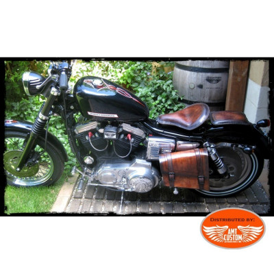 Sacoche latérale solo cuir marron pour Harley, Bobbers, Choppers
