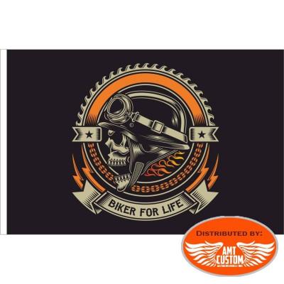 Drapeau fanion Skull Biker for life.