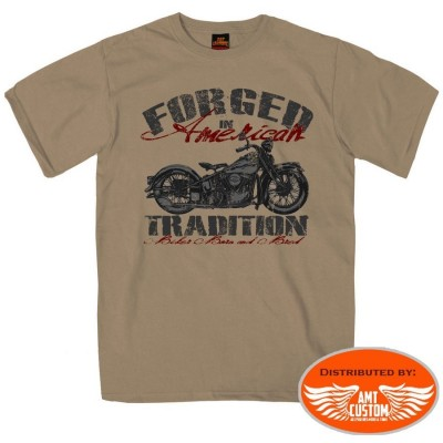 "T-shirt Biker Moto ""Forged in America"" custom trike harley motard beige"