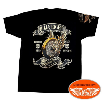 T-shirt biker motard moto harley custom trike roue ailé Billy Eight Original Racer face