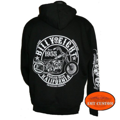 Sweat Veste capuche Biker Billy Eight  .